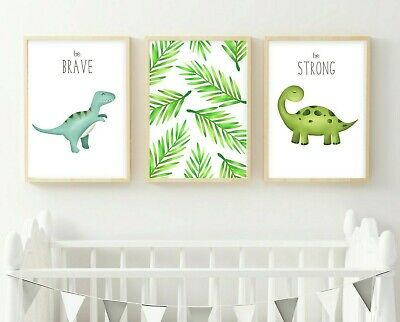 3 Trex Dinosaur Modern Nursery Quote Prints Leaves Jurassic Wall Art Pictures
