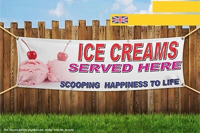 Ice Creams Served Here Scooping Happiness Heavy Duty PVC Banner Sign 4548
