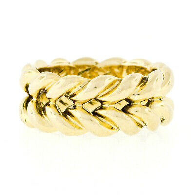 Vintage Handmade 14k Yellow Gold 8.5mm Wide Illusion Braided Eternity Band Ring
