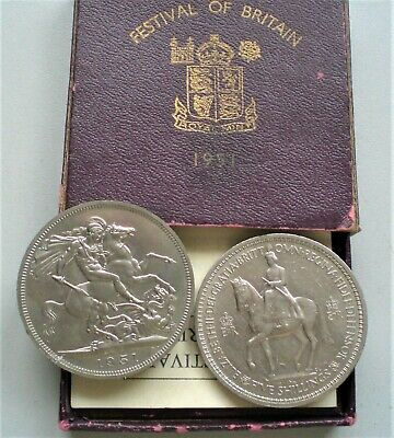 George V1 and Queen Elizabeth 11 Crowns ,Cased 1951 and 1953  [D693]