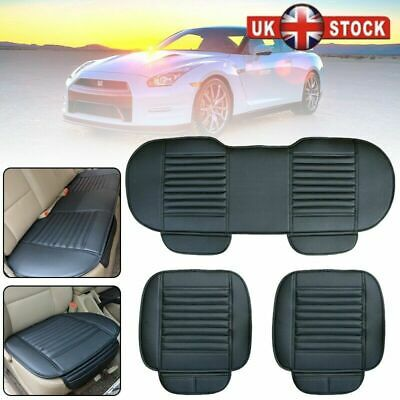 3Pc Black Universal Front & Rear Car Auto Seat Cover Protector Mat Cushion Pad