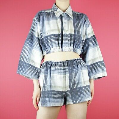 VINTAGE Two Piece 90s Crop White Blue Check Rework Grunge Shorts Shirt Top M 12