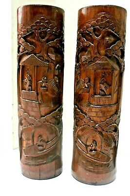 Tall Antique Chinese Carved Bamboo Scholar Brush Pot Vases