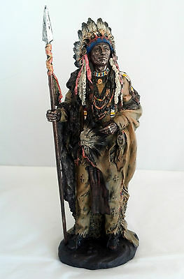 "14"" Inch Indian Warrior Indio India North American Statue Figure Figurine"