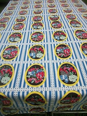 Vintage Print Tablecloth Chickens Flowers Red Blue Green Black Center Seam TC75