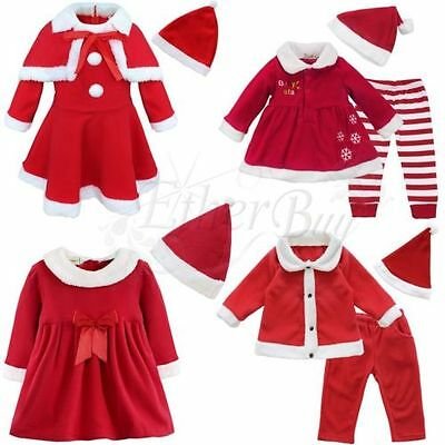 Toddler Kids Girls Christmas Costumes Santa Red Princess Dresses Outfit Clothes