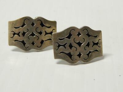 VINTAGE / ANTIQUE MEXICAN STERLING SILVER CUFF LINKS COLONIAL DESIGN 1930-40s