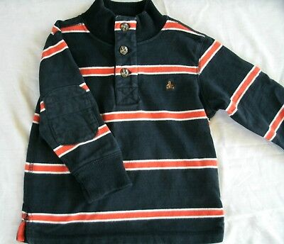 Baby Gap Boy's Shirt Striped Henley Navy Long Sleeve 18-24 Months Elbow Patch