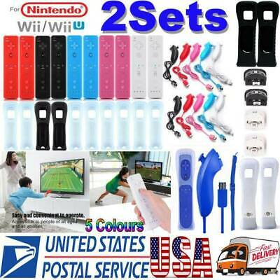 2 Sets REMOTE CONTROLLER and NUNCHUCK FOR NINTENDO WII & WII U &SILICONE + STRAP