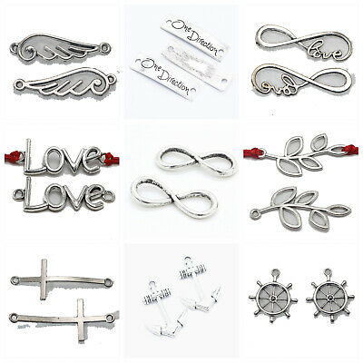 8Pcs Antiqued Silver Tone Smooth Cross Charms Pendants Connectors 14x25mm