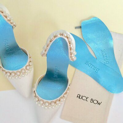 Alice Bow Leather Bridal Blue Insoles - Flats