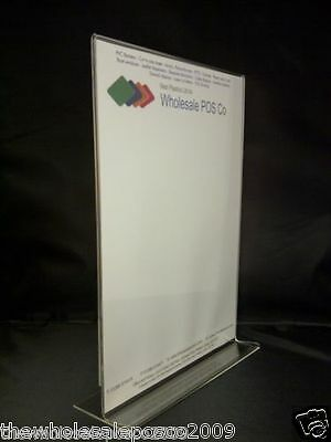 A4 Perspex Sign Menu Holder Retail Counter Acrylic Shop Poster Displays x 2