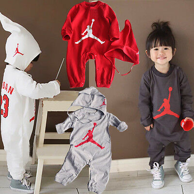 Baby Boys Long Sleeve Basketball Jordan 23 Romper Playsuit Outfit Set With Hat