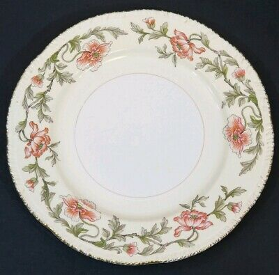 """(2) HOMER LAUGHLIN Fine China USA 1940s Pink Floral 9"""" Lunch Plates K 46 N 6"""