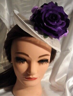 White Fascinator Hat Hair Wedding Large Purple Roses Special Ocassion Headwear