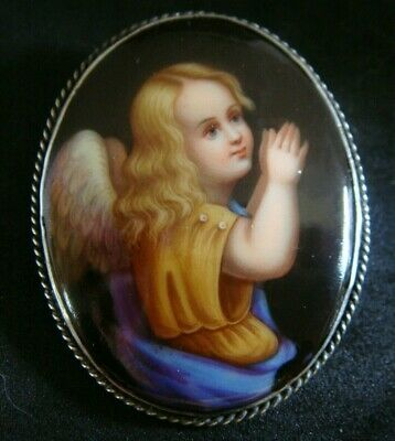 Antique Georgian / Victorian Fine Painted Miniature Angel Brooch Pin
