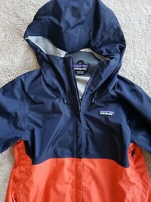 NWT Patagonia Torrentshell H2no Mens blue fire red Hooded Jacket MSRP $129
