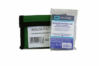 CPR Resuscitation Mouth Face Shield Keyring Pouch First Aid Belt Loop Mask Valve