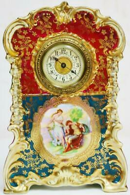 Sweet Antique Hand Painted & Hand Gilded Vienna Porcelain Timepiece Mantle Clock
