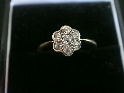 Antique Art Deco Natural 0.20Ct Diamond & 18Ct & Platinum Ring Size O