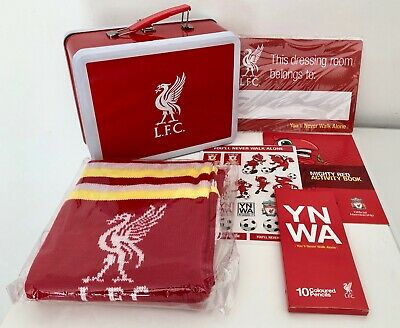 New! Liverpool Football Club Lfc Lunch Tin/Scarf/Stickers/Colouring Pencils Gift