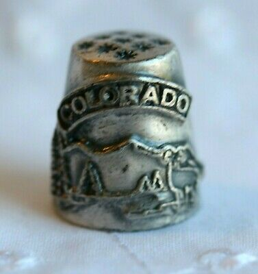 Vintage Pewter Souvenir Collectible Thimble Colorado