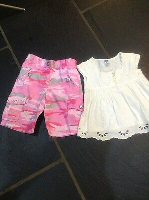 OUTFIT 2 Yrs 2 Piece Girls Bundle Top Pink Camouflage Cropped Trousers