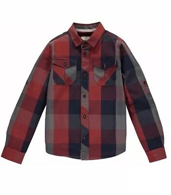 Bench Boys Red Check Shirt Aged 15-16 Years BNWT