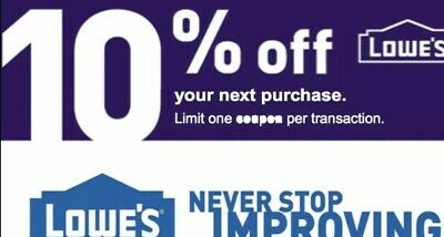 ONE (1X) 10% OFF LOWES 1Coupons - Lowe's In store/online FAST Delivery 🔥