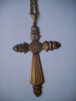 """Antique Finish Brass Necklace LARGE Cross Pendant-24"""" Gold Plate rope chain"""