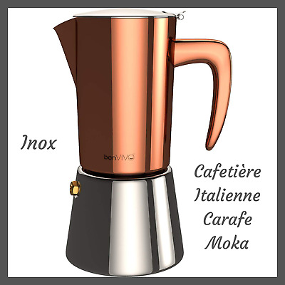Cafetiere Italienne Inox Cafe Expresso Corse Carafe Moka 6 Tasses Tous Feux Cafe