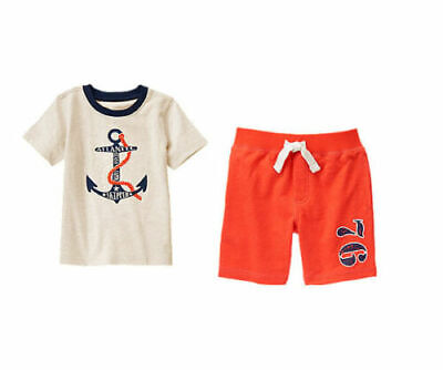 NWT Gymboree FRESH CATCH 2 PCS  Size 2T 3T 4T  Anchor Tee /& Terry Shorts
