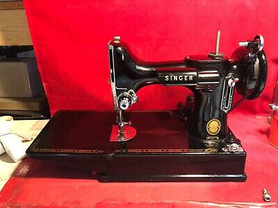 Vintage Singer Portable Electric Sewing Machine 221-1 w/Pedal TESTED