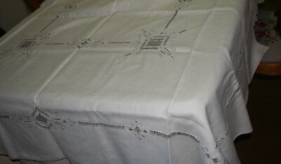 Vintage Embroidered Large White Tablecloth Gray Embroidery & Cut Outs 12 Napkins