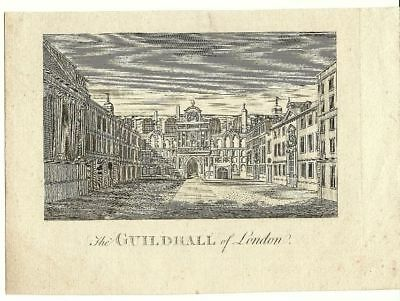 LONDON antique print THE GUILDHALL very early 1800s original ART city urban