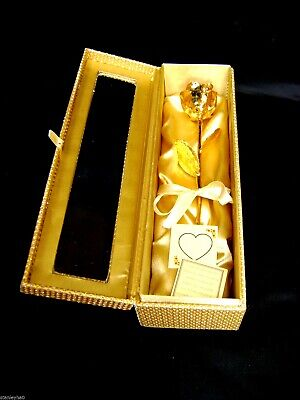 Anniversary Gift - 12 Inch 24K Gold Dipped Real Rose in a Gold Egyptian Casket