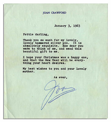 Joan Crawford Letter Signed From 1963