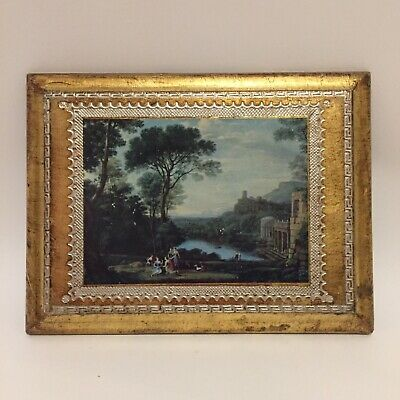 Vintage Hollywood Regency Italian Picture Gold Wood Made in Italy Castle Scene