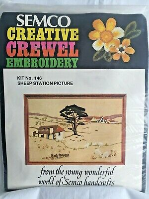 Sheep Station Picture ~ Vintage Crewel Embroidery KIT by SEMCO - NEW