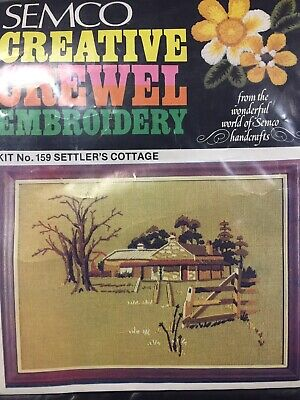 SETTLER'S COTTAGE    ~ Vintage Crewel Embroidery KIT by Family Circle  - NEW