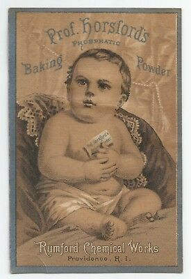 1880s Prof. Horsford's Baking Powder Victorian Baby Trade Card Chromolithograph