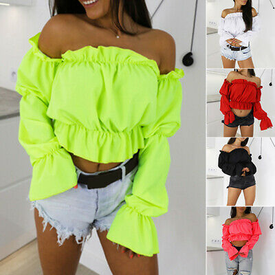 Women's Tops Holiday Summer Off Shoulder Boho Fashion Tops Party Solid