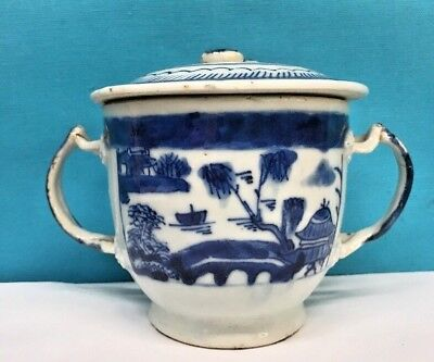 Antique Chinese Blue and White Porcelain Cup W/ Lid