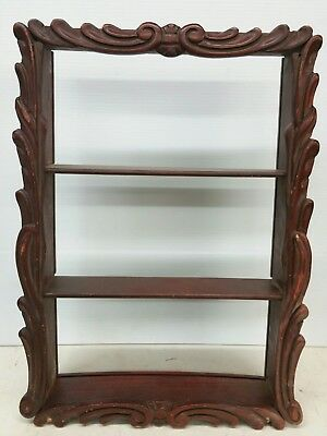 Vintage Chinese Red Carved Wood Wall Hanging Cabinet 3 Shelves