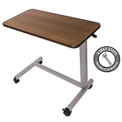 Medical Table Bedside Overbed Rolling With Wheels Adjustable Home Hospital Use