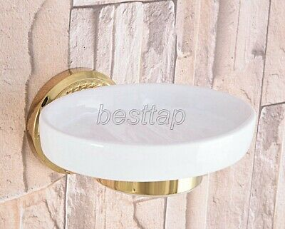 Gold Color Brass Wall Mounted Soap Dish Holder Bathroom Accessory sba587