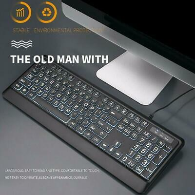 LED Color Backlit Wired Multimedia Gaming Keyboard For PC For The Aged Good I9M6