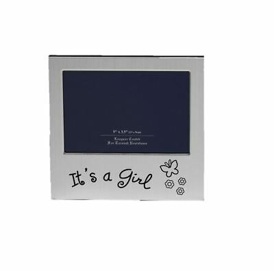 It's A Girl Newborn Baby Picture Photo Frame Silver Gift Baby Shower Occasion