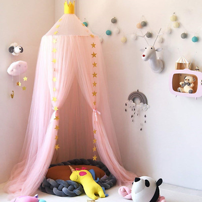 Bed canopy mosquito net CROWN pink/grey