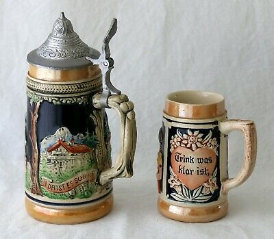 Two Original Vintage German Beer Steins Hand Crafted in 1960s